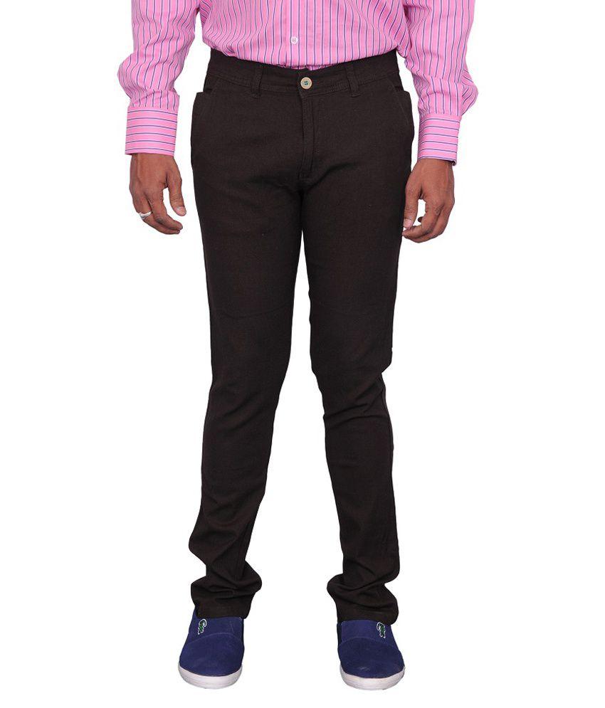 C Dot Brown Cotton Slim Fit Trouser