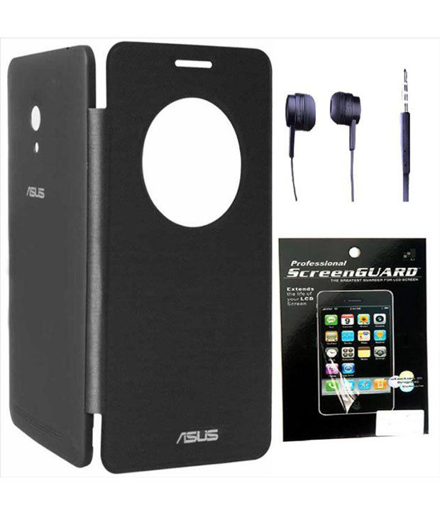 detailed look 27187 c8574 Davidkarter Asus Zenfone 5 Black Flip Cover Case With Screen Guard &  Earphone Handsfree