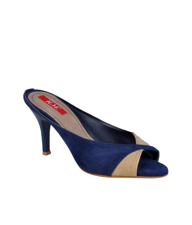 Hm Blue Back Open Womens Medium Heel Sandals