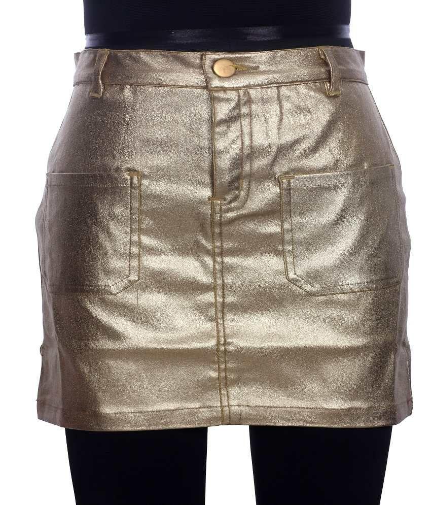 Karyn Metallic Gold Short Skirt For Kids