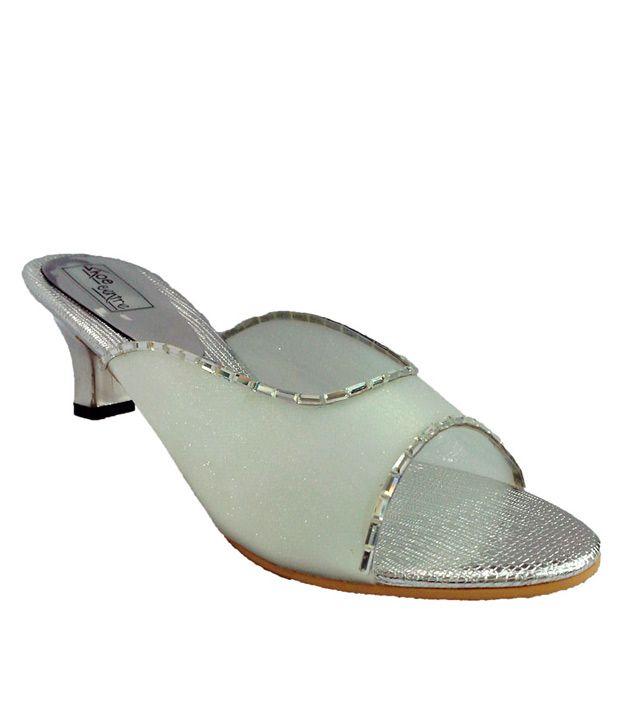 Shoe Centre Silver Party Wear Heeled Slip-on