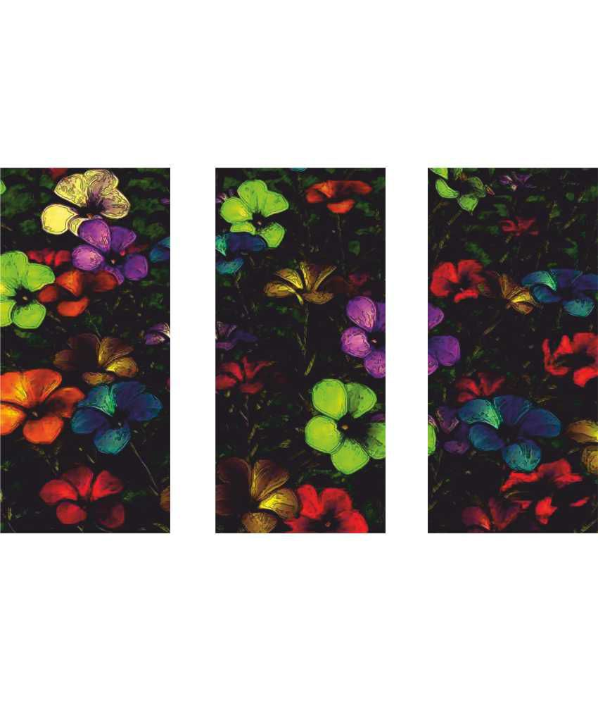 Anwesha's Black Floral 3 Frame Split Effect Digitally Printed Canvas Wall Painting