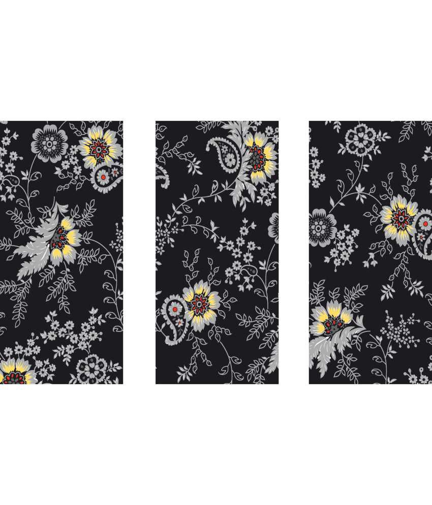 Anwesha's Gray Black Floral 3 Frame Split Effect Digitally Printed Canvas Wall Painting