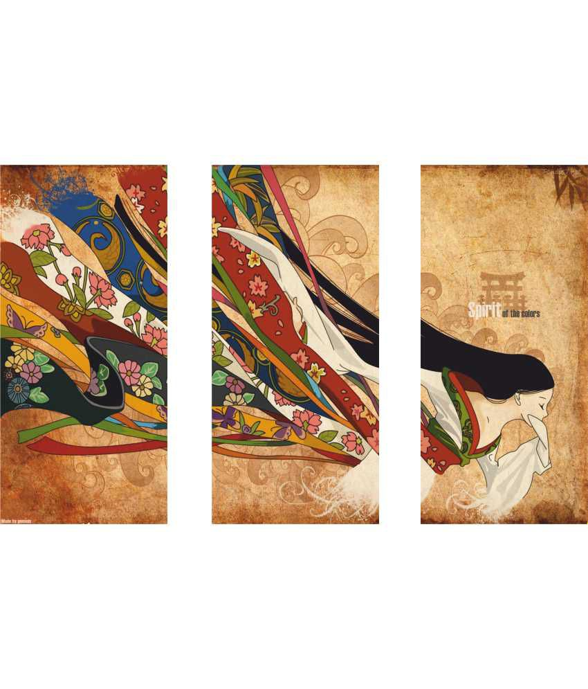 Anwesha's Spirit Of Colours 3 Frame Split Effect Digitally Printed Canvas Wall Painting
