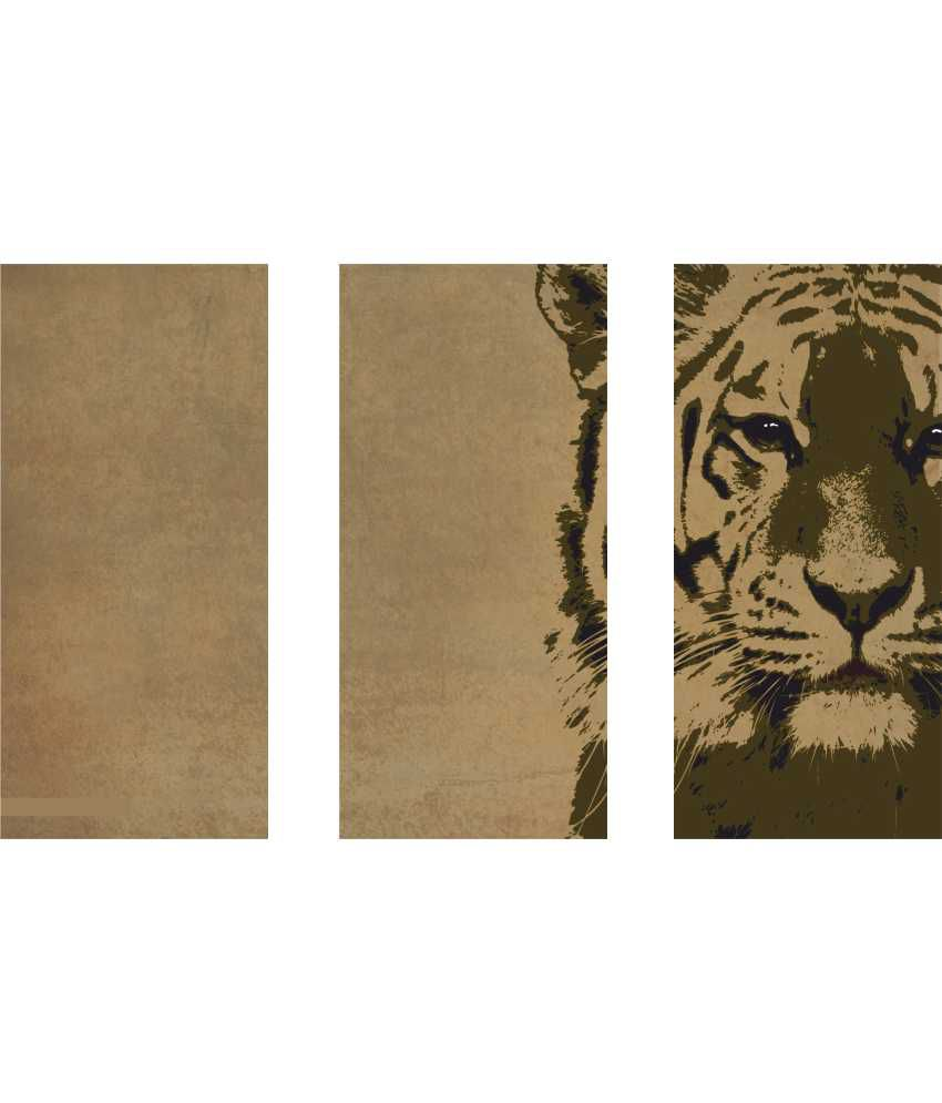 Anwesha's Tiger On Brown 3 Frame Split Effect Digitally Printed Canvas Wall Painting