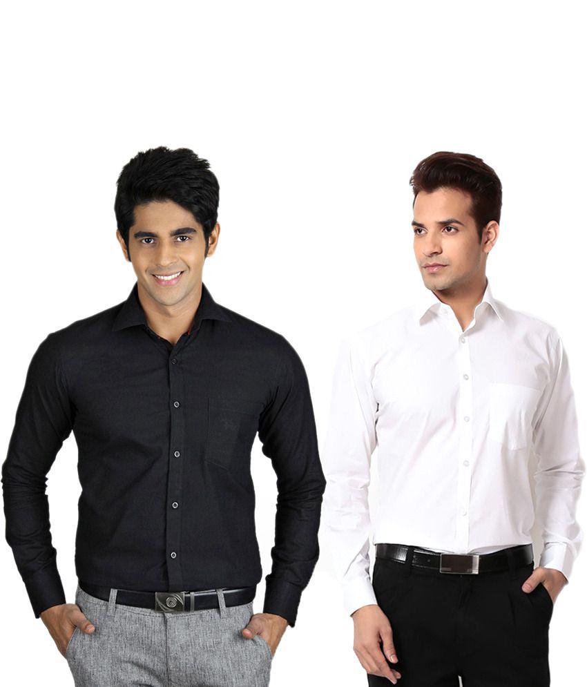 Unique For Men Multicolour Cotton Blend Formal Shirt - Combo Of 2