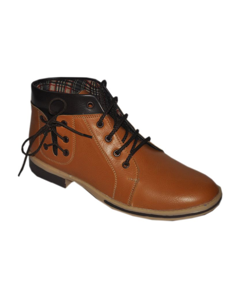 Buywell Brown Leather Boots For Men