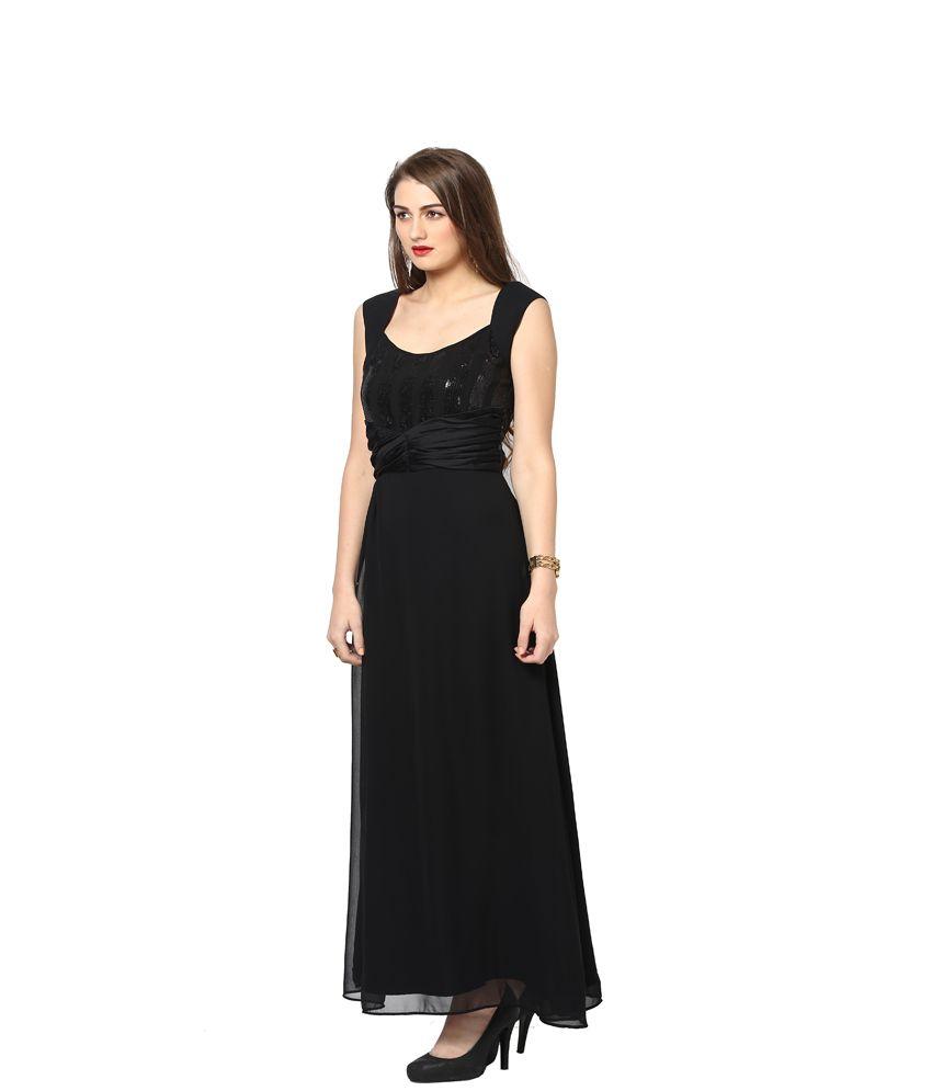 Eavan Black Georgette Maxi Dress - Buy Eavan Black Georgette Maxi ...