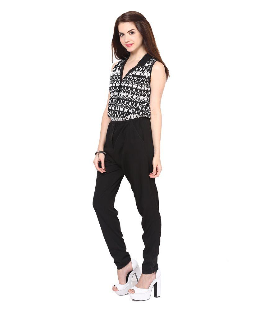 87309005728 Eavan Black Black-white Printed Jumpsuit - Buy Eavan Black Black ...