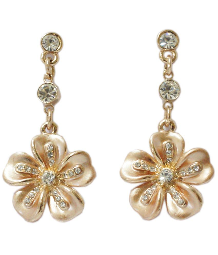 Golden Peacock Chic Gold Plated Cz Floral Drop Earrings