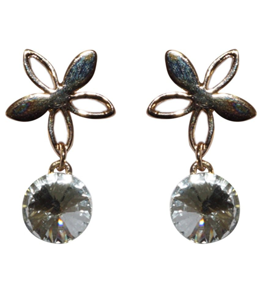 Golden Peacock Superb Silver Toned Cz Floral Drop Earrings