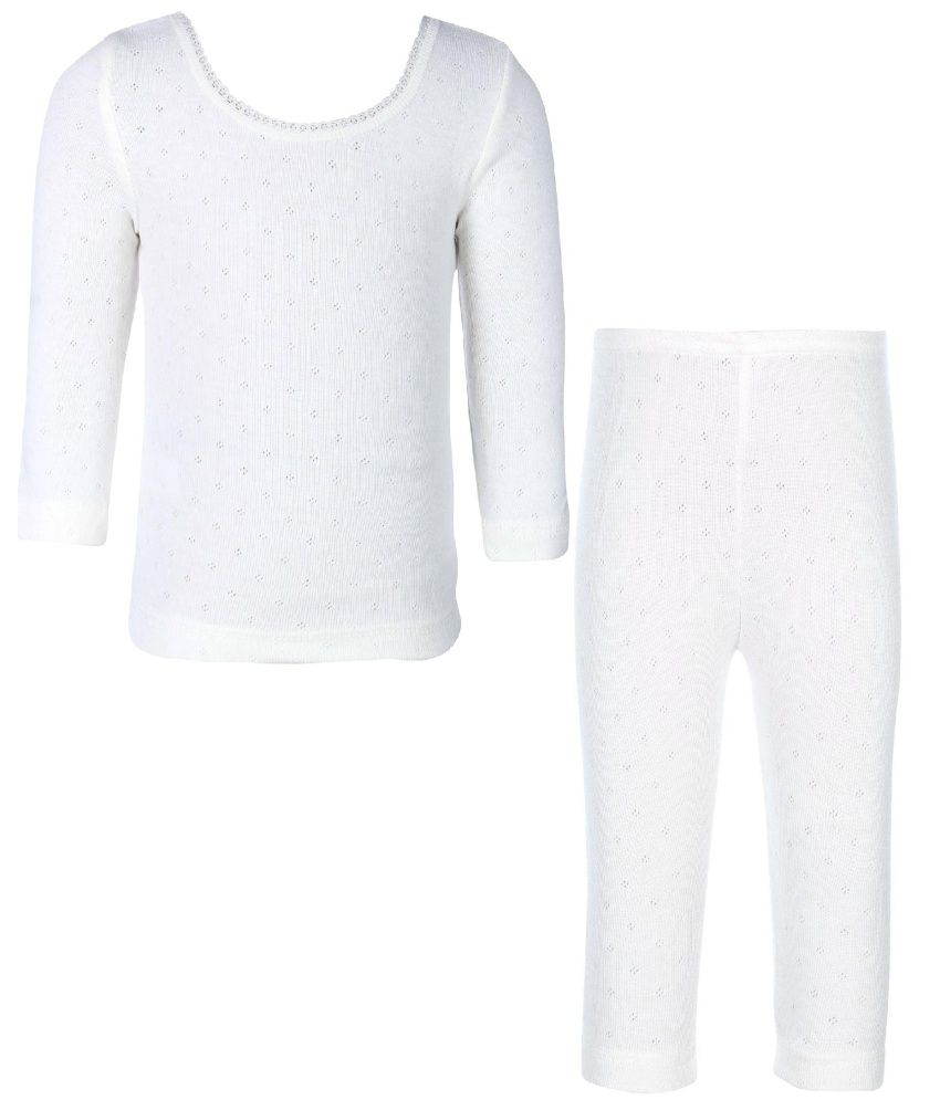 Kanvin Soft Girls Offwhite Thermal Set (top And Bottom)