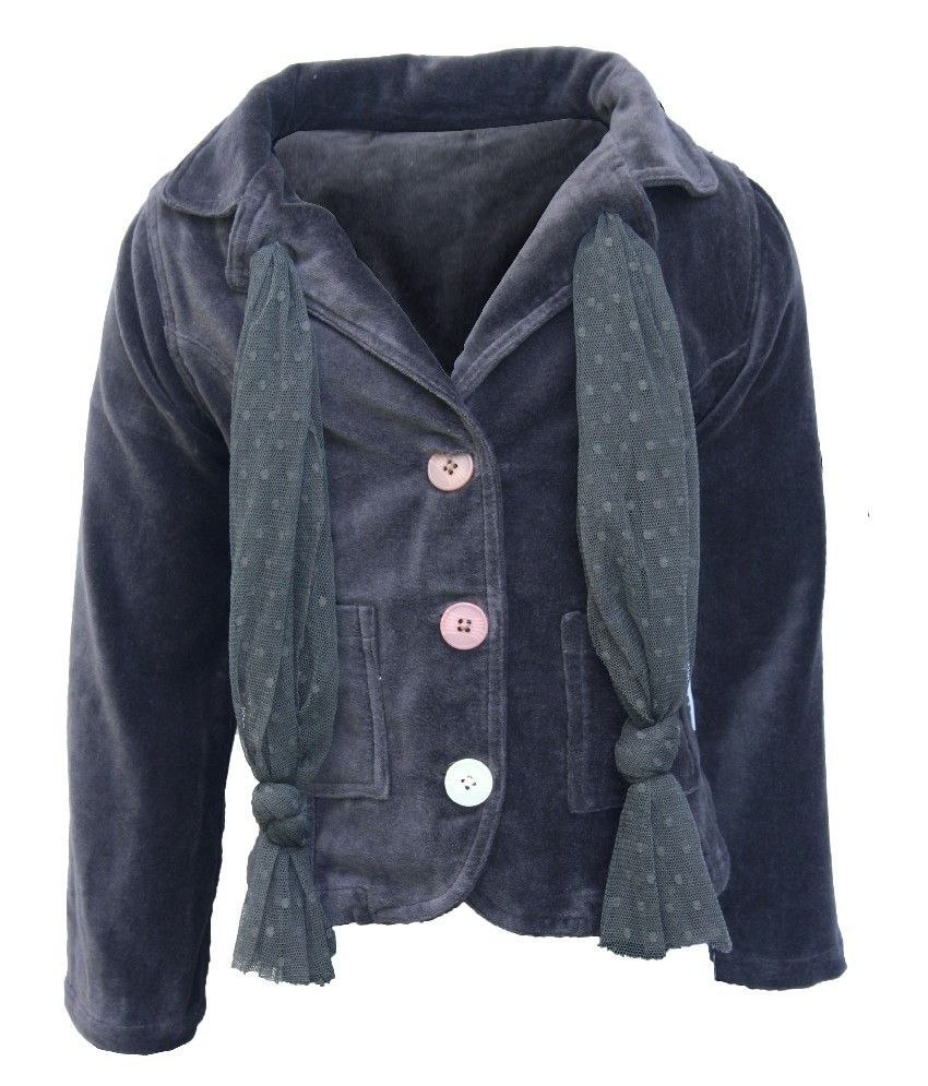 Mijn Full Sleeves D.Gray Color Jacket For Kids