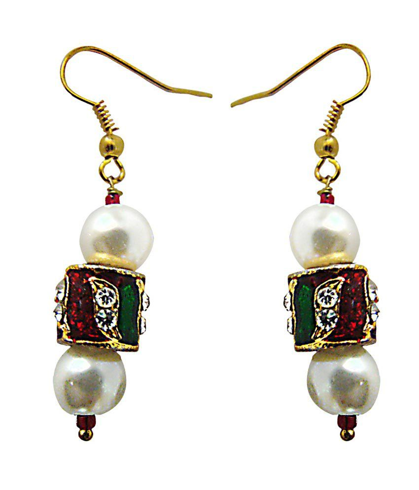 Oumya Jewels Multicolour Gold Plated Traditional Bling Earrings