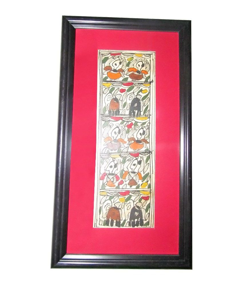 Rural Touch Red Madhubani Wall Painting