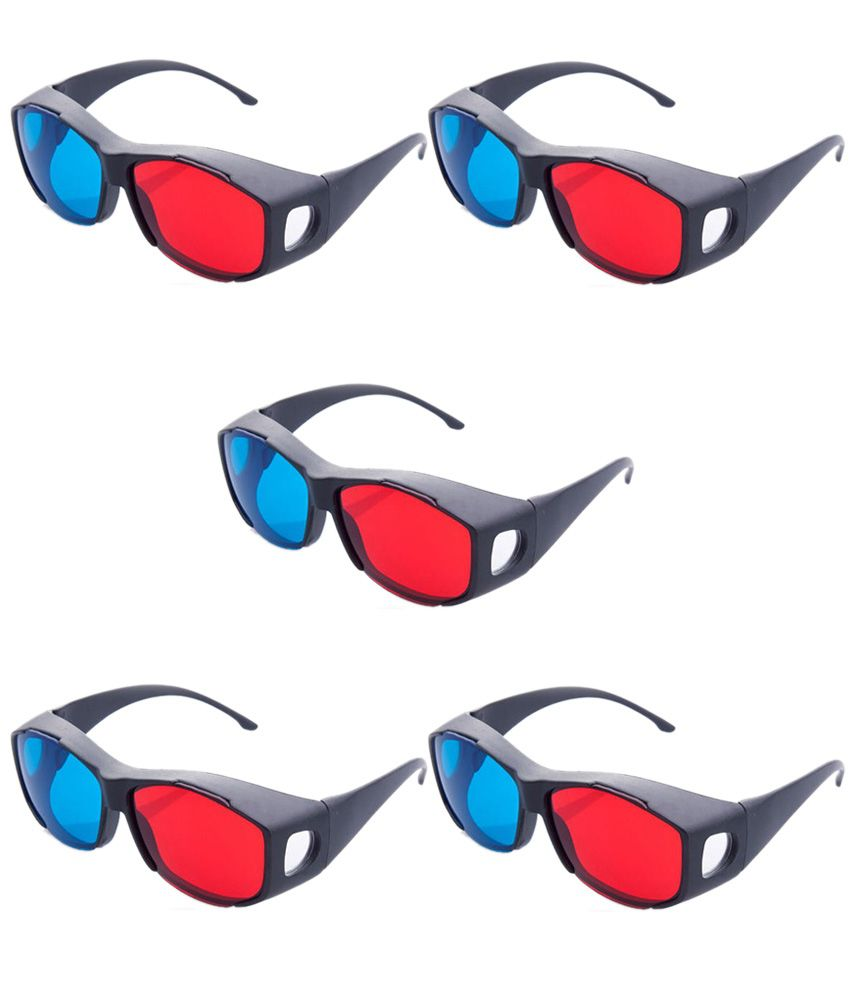 Hrinkar Updated Version 2015 New Model Anaglyph 3d Glasses Red And Cyan ( 3d Glass 5 Pcs Pack )