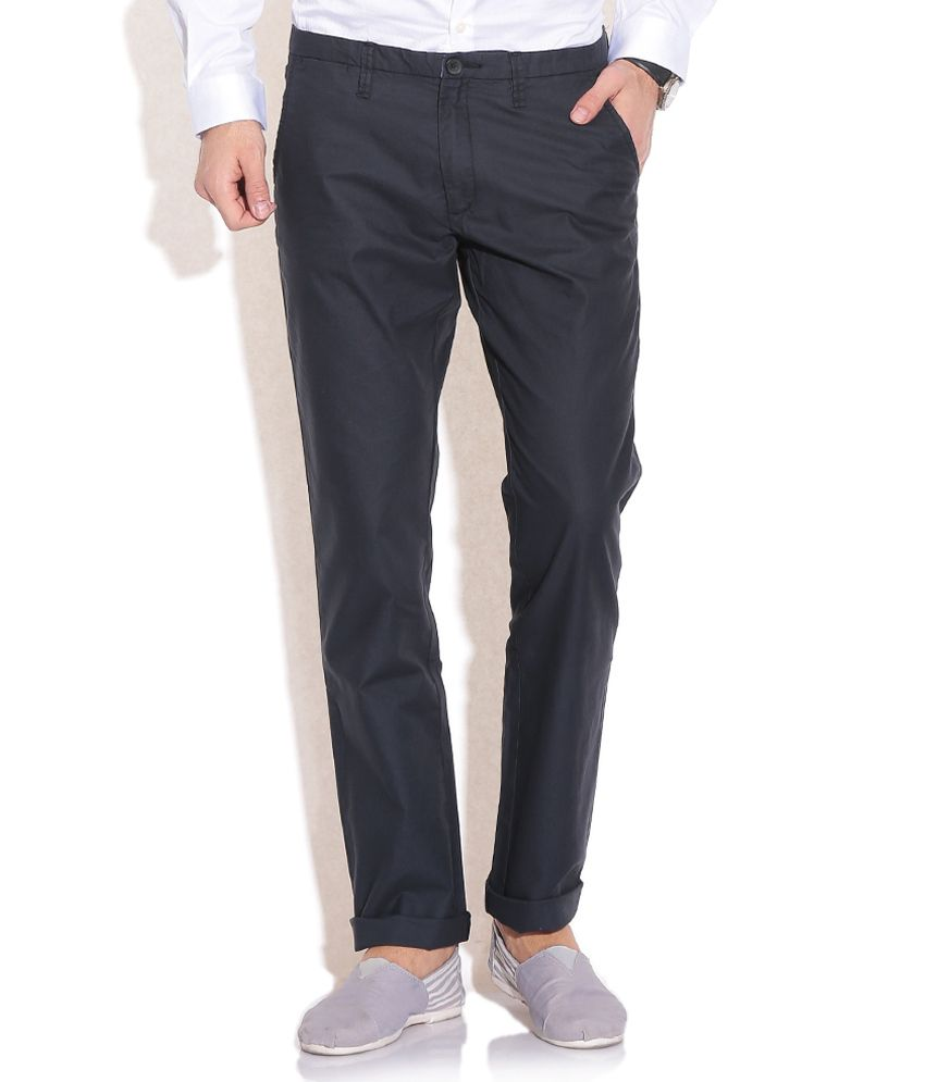 Jack & Jones Navy Regular Formals Trousers & Chinos