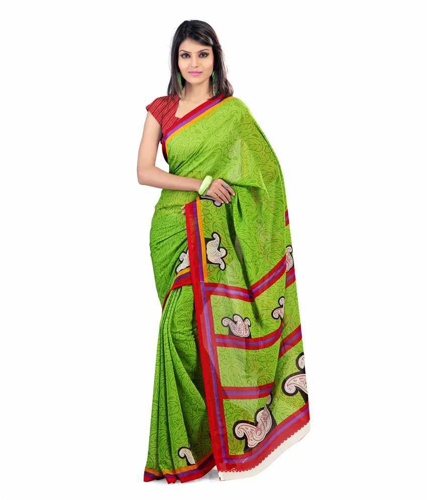 Nanda Silk Mills Faux Goergette Bright Color Print Saree
