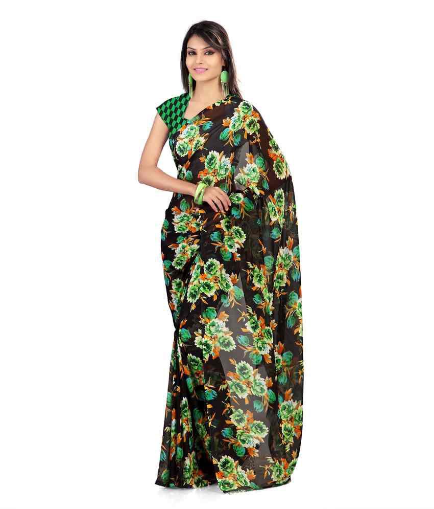 Nanda Silk Mills Green Faux Georgette Saree