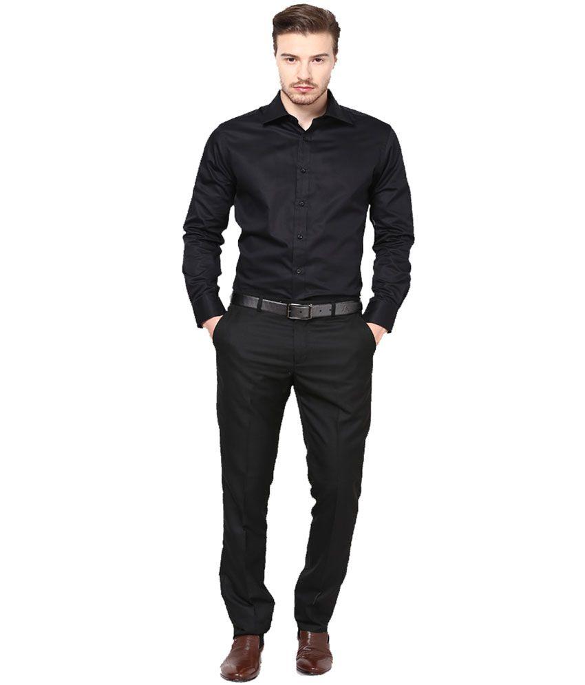 Prime Tone Black 100 Percent Cotton Regular Fit Formal Shirt - Buy ...
