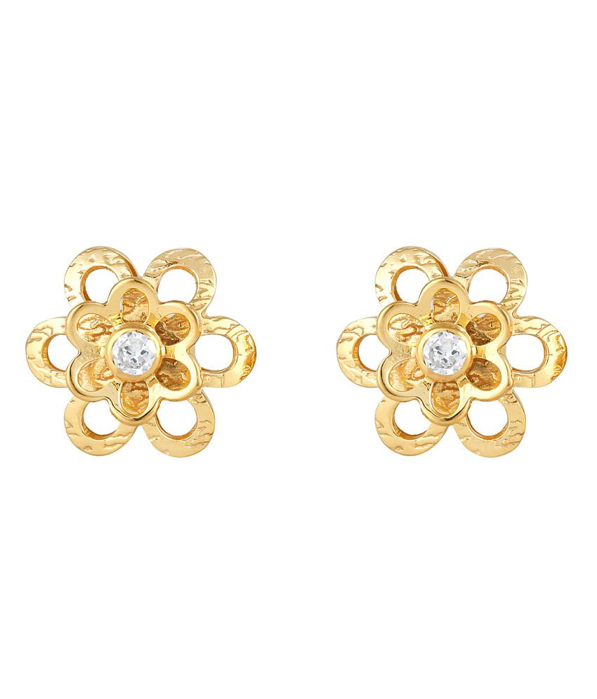 Milaan Contemporary 24kt Gold And 92.5 Sterling Silver Cz Earrings