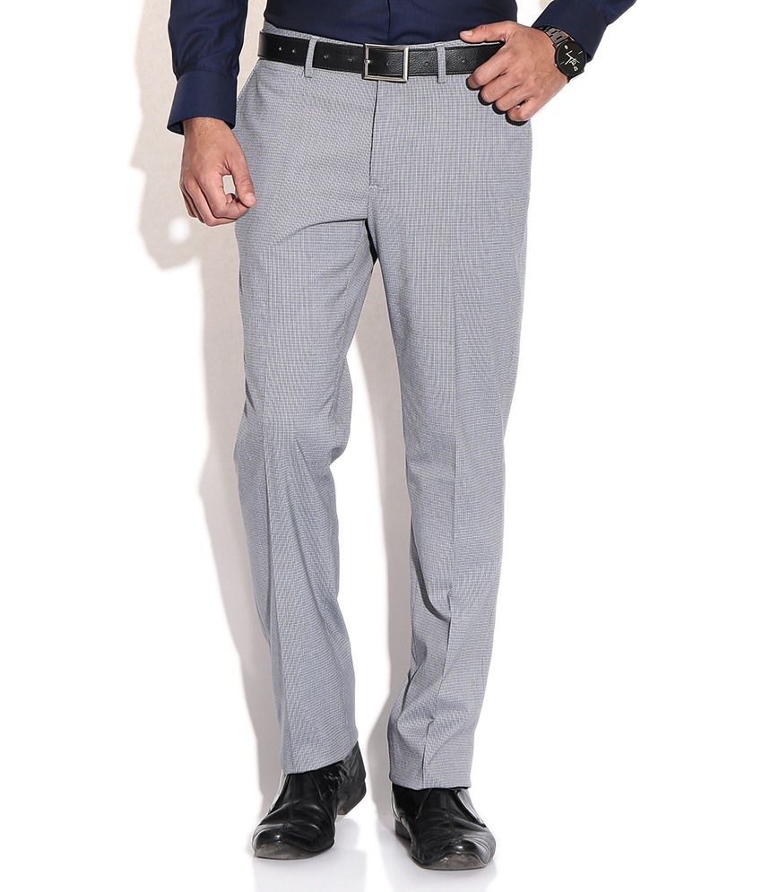 Wills Lifestyle Blue Slim Formals Trousers & Chinos