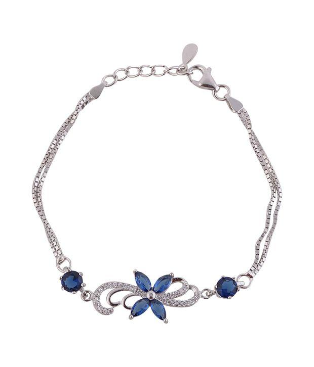 Angel Blue Floral Silver Bracelet