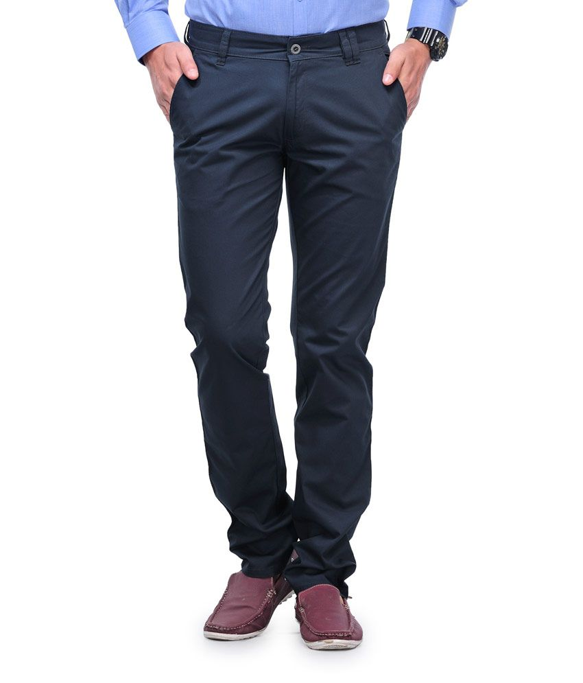 Canary London Navy Cotton Regular Fit Chinos