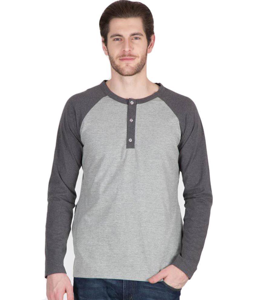Hypernation Light and Dark Grey Color Henley Neck Cotton Full Sleeves T-shirts For Men
