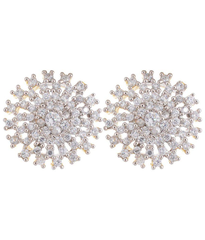 Aidalane Gold Plated Sun Shaped Circular American Diamond (cz) Studs Earrings