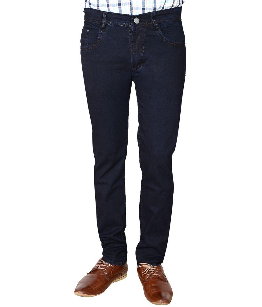Flyjohn Trendy Dark Blue Cotton Denim Jeans