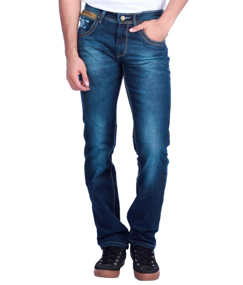 Exile Blue Cotton Narrow Fit Jean For Men