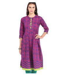 Vishudh Pink And Blue Cotton Printed Kurti