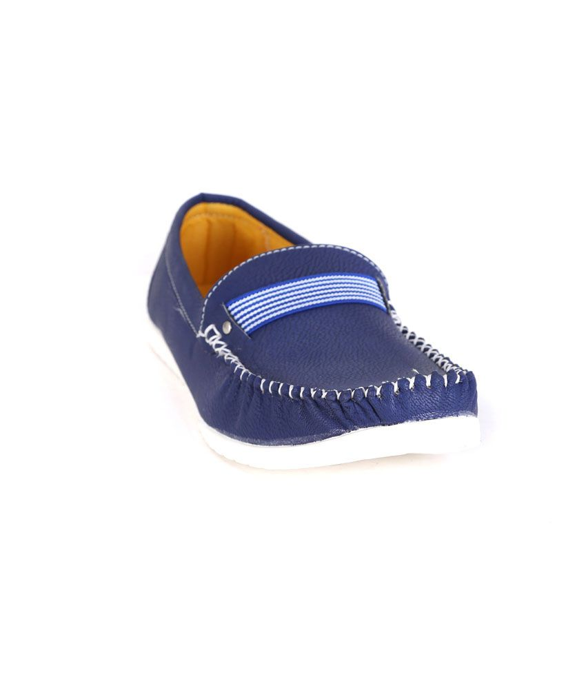 Quarks Blue Synthetic Leather Slip-on Men Casual Shoes