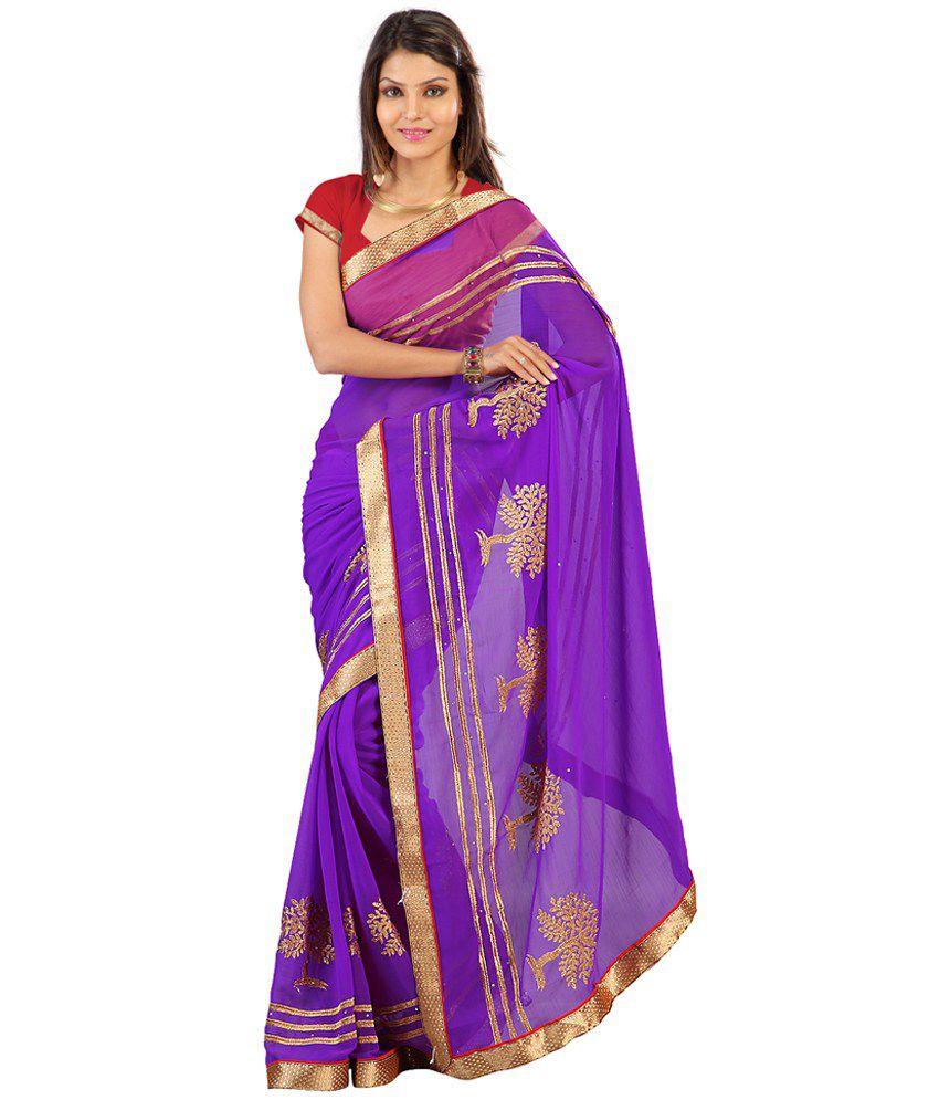 Indian House Purple Semi Chiffon Saree
