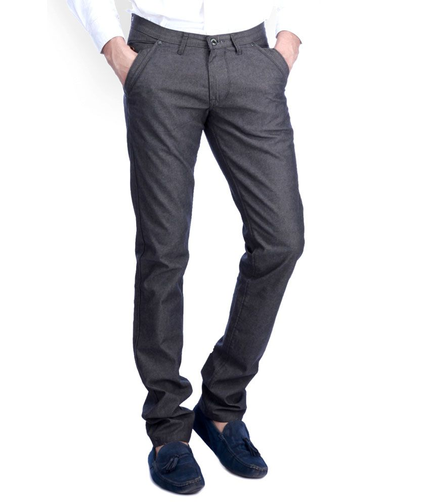 Sixth Element Black Straight Fit Casual Trouser