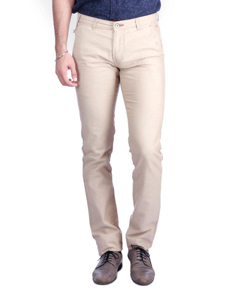 Sixth Element Khaki Colour Trim Fit Casual Trouser