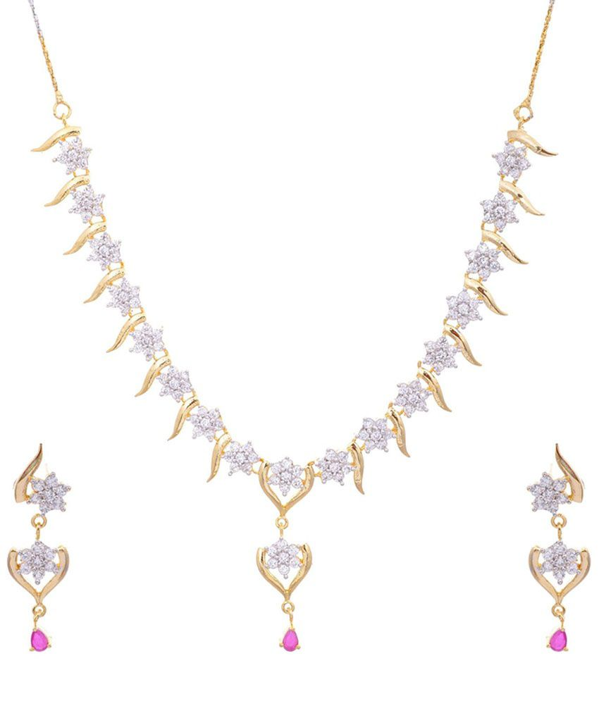 Aditri Golden & Pink American Diamond Necklace Set