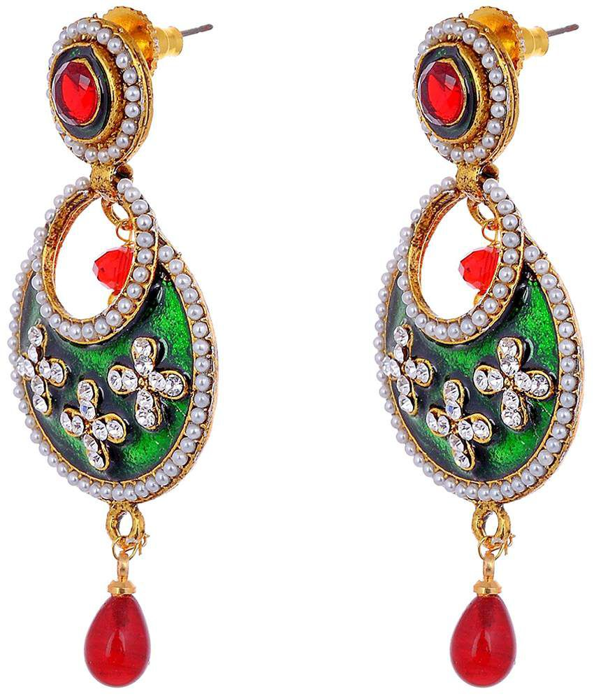 Aditri Well Crafted Green & Red Hanging Earrings