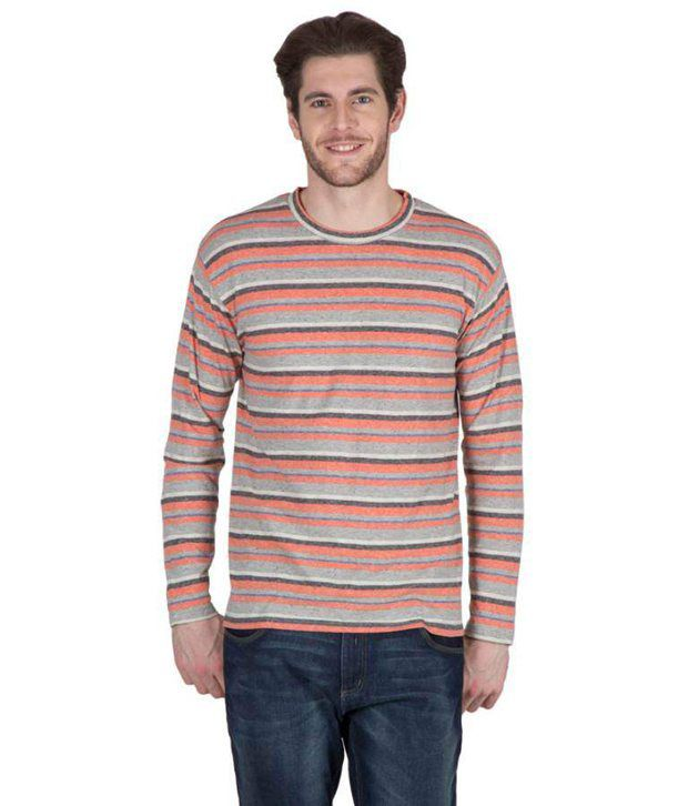 547ced1354b Hypernation Grey and Orange Color Striped Round Neck Cotton Full Sleeves T- shirts For Men - Buy Hypernation Grey and Orange Color Striped Round Neck  Cotton ...