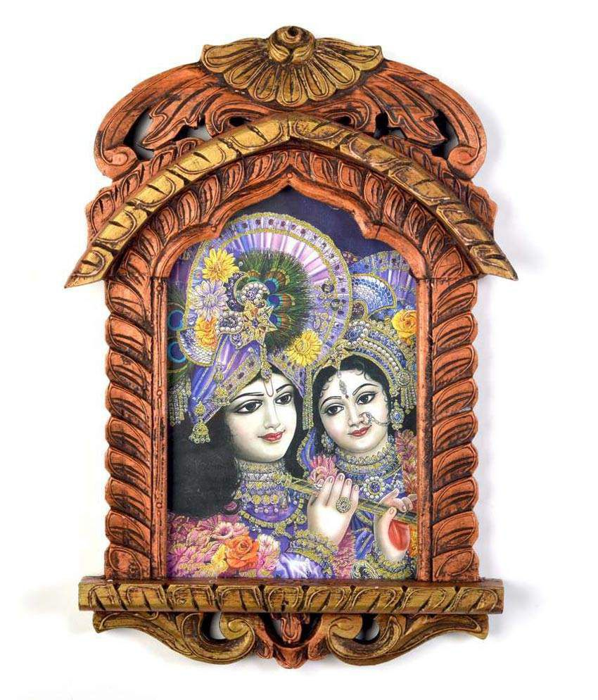Little India Lord Saral Bihari N Radha Wooden Jharokha Painting 392