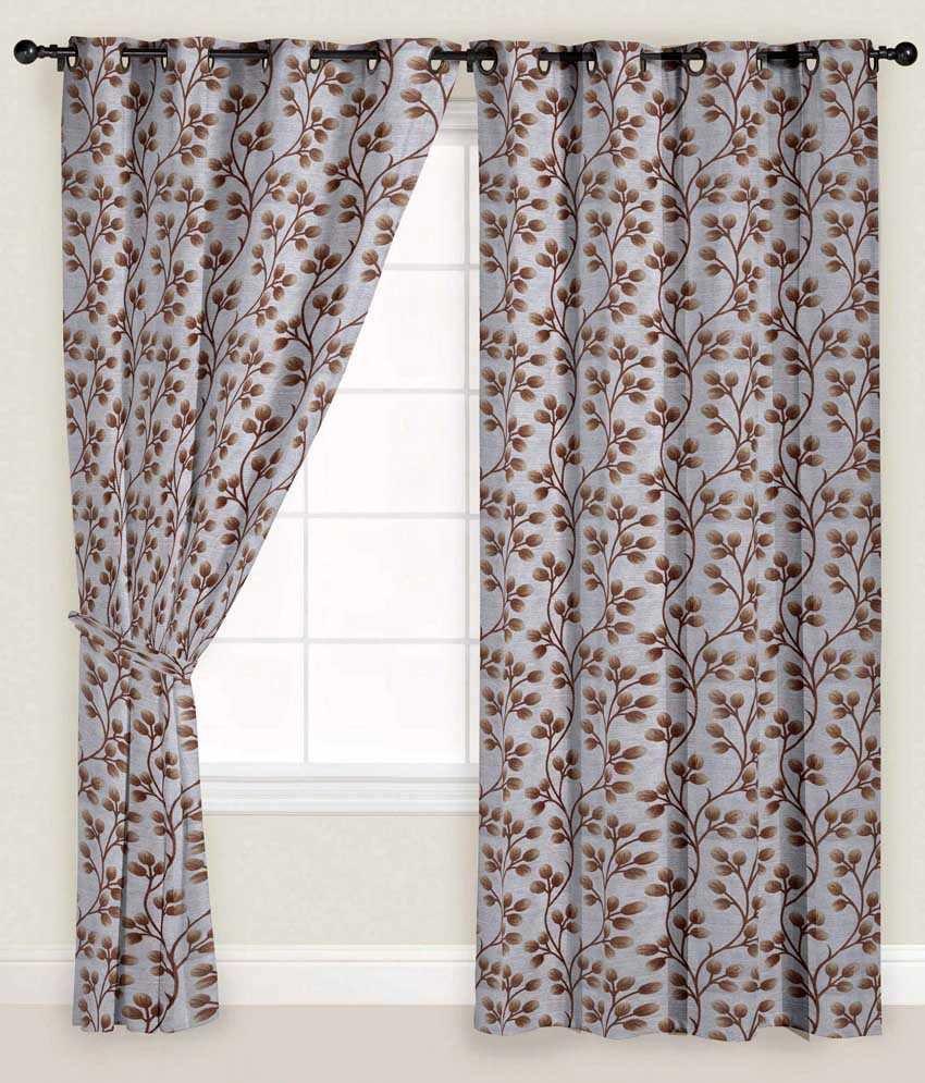 Presto Single Window Eyelet Curtain Floral Brown