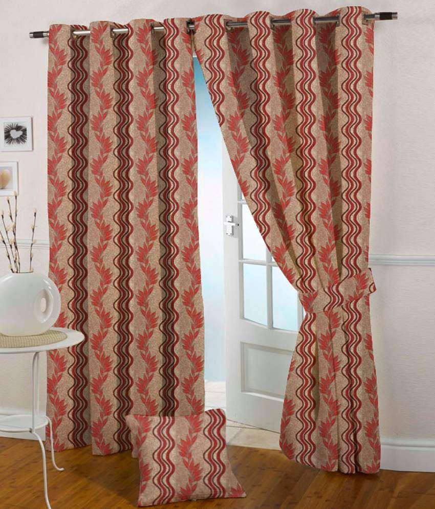 Presto Single Window Eyelet Curtain Contemporary Red