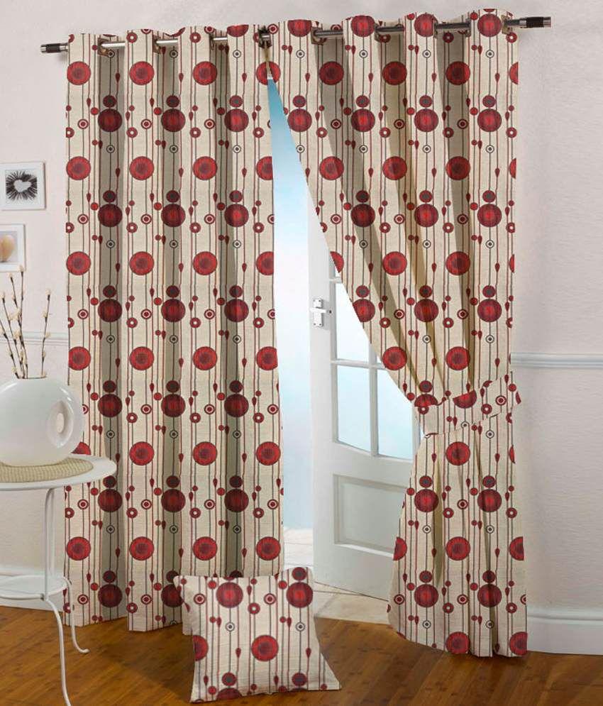 Presto Single Long Door Eyelet Curtain Geometrical Red