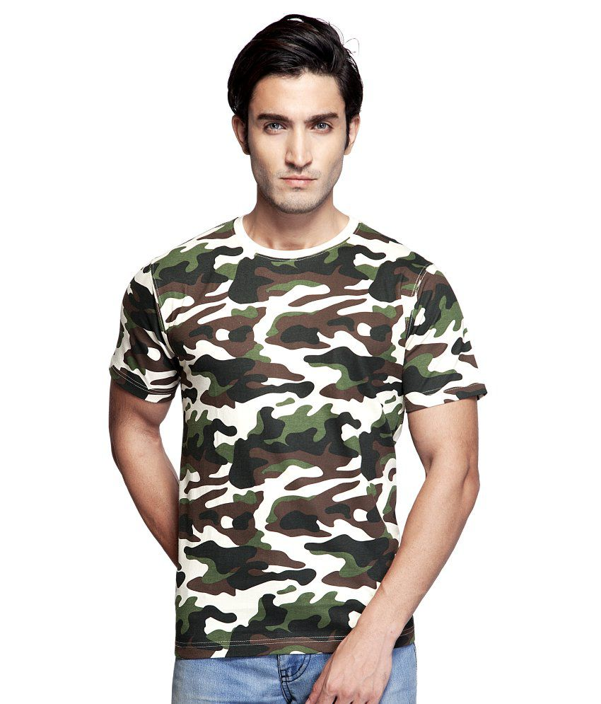 Clifton Green Cotton Round Neck Army Printed T Shirt