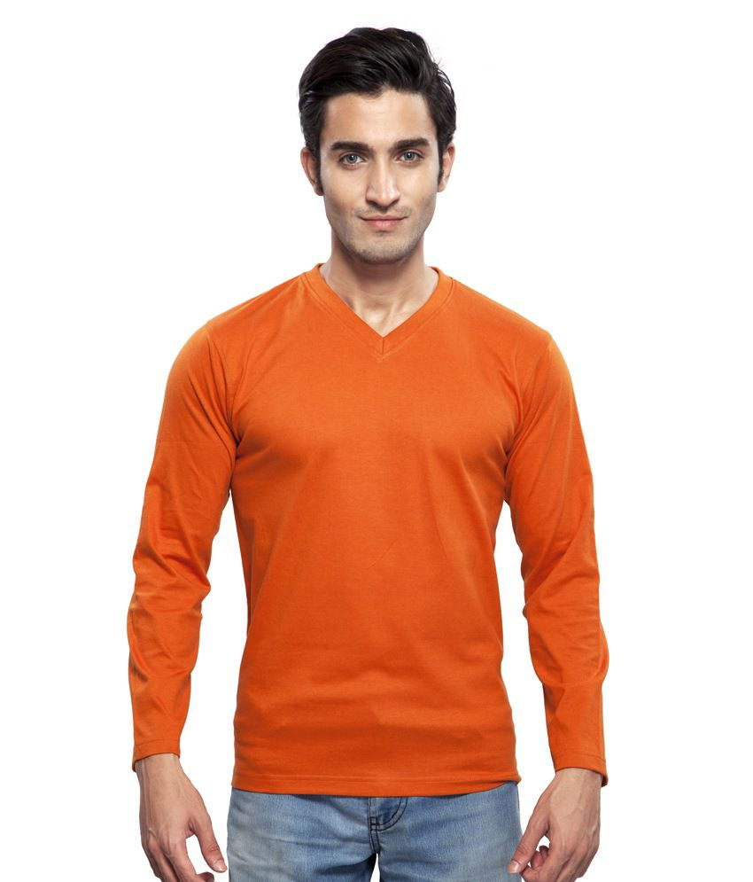 Clifton Orange Cotton Full Sleeves V-neck T-shirt