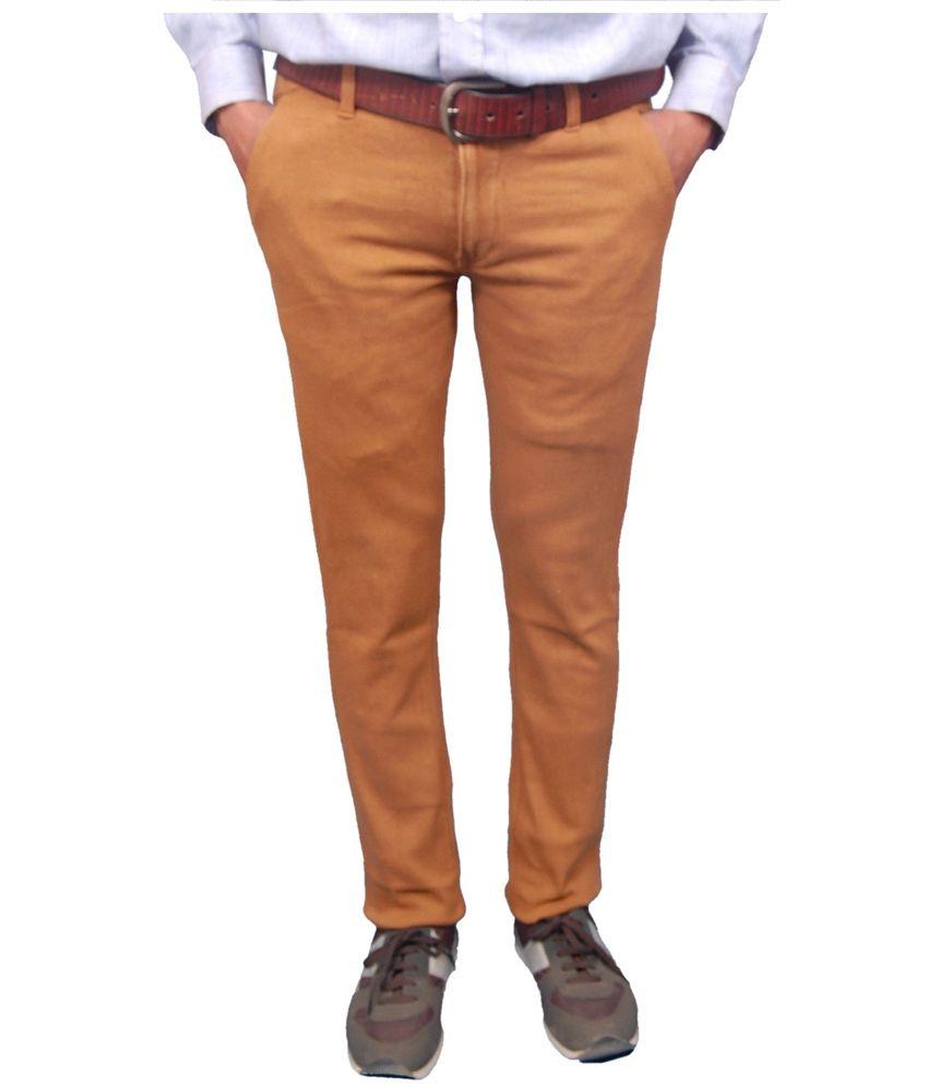 Fashion N Style Beige Cotton Lycra Slim Fit Casuals Trouser
