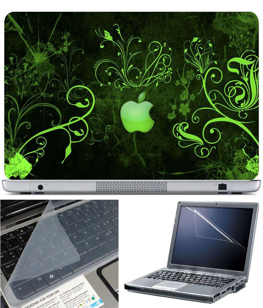 Finearts Textured Laptop Skin Apple Green Wallpaper Printed