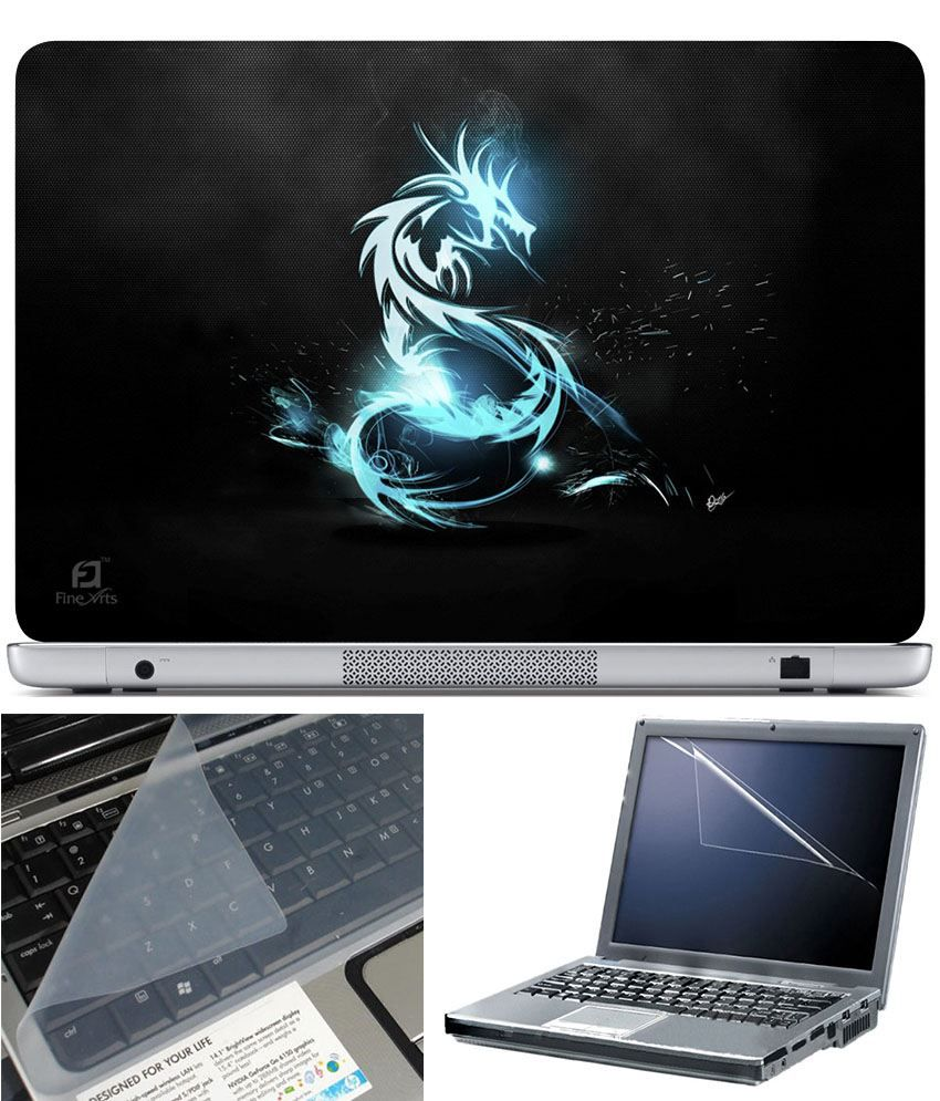 Finearts Laptop Skin 15.6 Inch With Key Guard And Screen Protector Blue Dragon