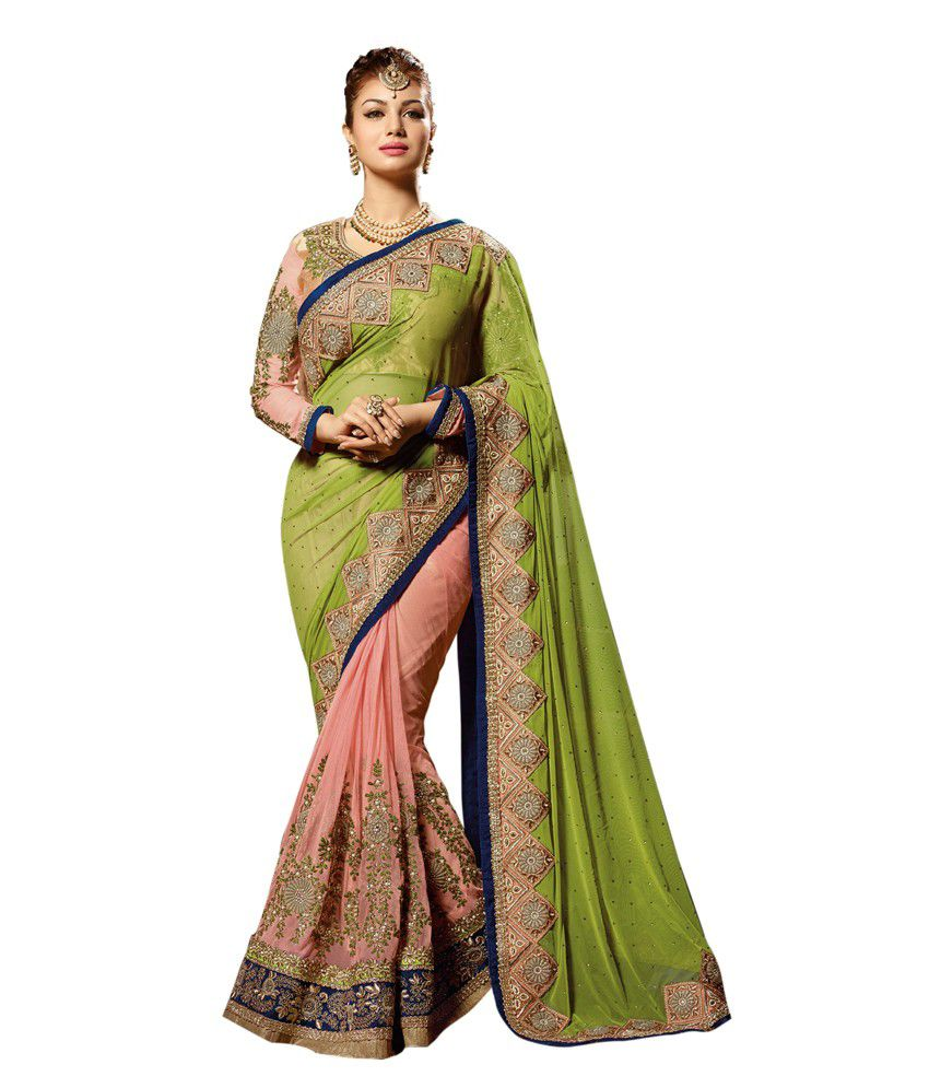 Shelina Green Peach Net Embroidered Saree With Blouse Piece